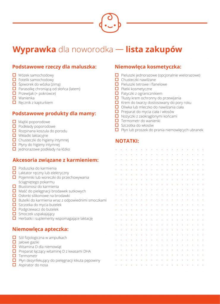 Wyprawka dla noworodka — lista zakupów w PDF